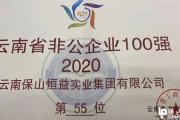 """保山恒益获""""2020年度云南省非公企业100强""""殊荣"""